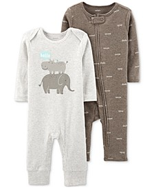 Baby Girls & Boys 2-Pk. Hello Coveralls