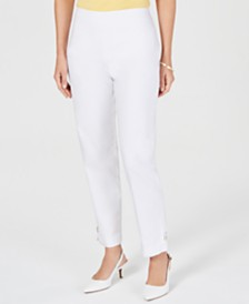 JM Collection Button-Hem Pull-On Pants, Created for Macy's