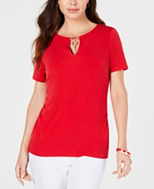 JM Collection Petite Embellished-Keyhole Top, Created for Macys