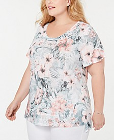 Plus Size Embellished Printed Scoop-Neck Top, Created for Macy's