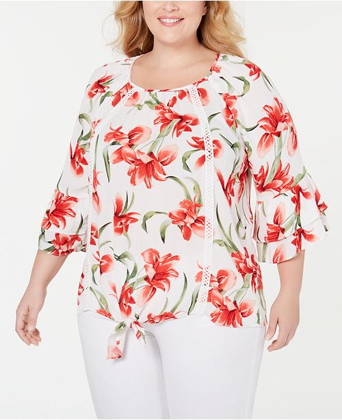 JM Collection Plus Size Floral-Print Tie-Hem Top, Created for Macy's
