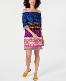 Trina Turk Printed Off-The-Shoulder Dress