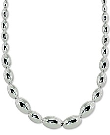 "Oval Bead Statement Necklace in Sterling Silver, 18"" + 2"" extender, Created for Macy's"