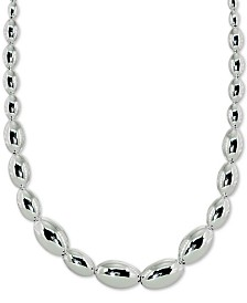 "Giani Bernini Oval Bead Statement Necklace in Sterling Silver, 18"" + 2"" extender, Created for Macy's"