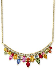 EFFY® Multi Sapphire (3-1/3 ct.t.w.) & Diamond (1/5 ct. t.w.) Statement Necklace in 14k Gold