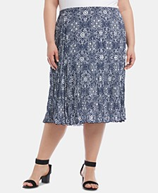 Plus Size Printed Tiered-Hem Crinkle Skirt