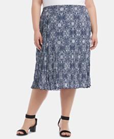 Karen Kane Plus Size Printed Tiered-Hem Crinkle Skirt