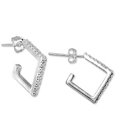 Giani Bernini Cubic Zirconia Square Huggie Hoop Earrings, Created for Macy's