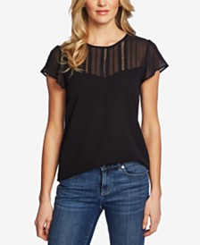 CeCe Flutter-Sleeve Mixed Media Top