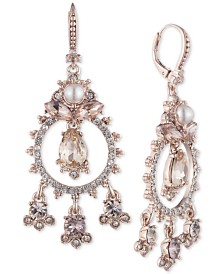 Marchesa Rose Gold-Tone Crystal Chandelier Earrings