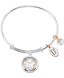 Unwritten Crystal Micky Mouse Charm Bangle Bracelet in Stainless Steel & Rose Gold-Tone with Silver Plated Charms