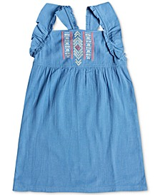 Little & Big Girls Ruffle-Strap Embroidered Dress