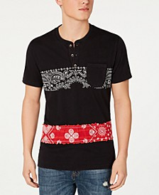 Men's Bandana Stripe Henley, Created for Macy's