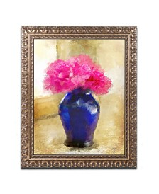 """Lois Bryan 'Pink Carnations in Cobalt Blue Vase' Ornate Framed Art - 11"""" x 14"""""""
