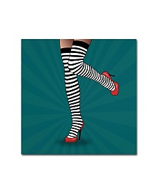 "Mark Ashkenazi 'Striped Tights 2' Canvas Art - 14"" x 14"""