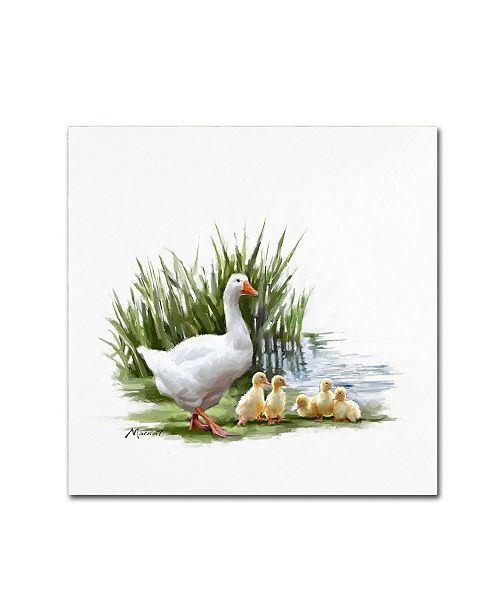 """Trademark Global The Macneil Studio 'Goose With Young' Canvas Art - 14"""" x 14"""""""