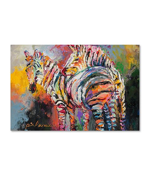 "Trademark Global Richard Wallich 'Zebras' Canvas Art - 12"" x 19"""
