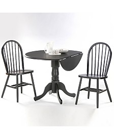 """International Concepts 42"""" Dual Drop Leaf Table With 2 Windsor Chairs"""