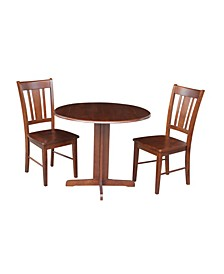 "36"" Dual Drop Leaf Table With 2 San Remo Chairs"