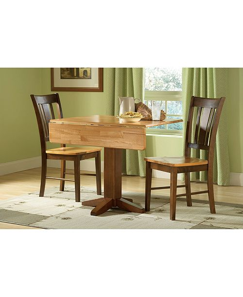 "WHITEWOOD INDUSTRIES/INTNL CONCEPTS International Concepts 36"" Square Dual Drop Leaf Table With 2 San Remo Chairs"