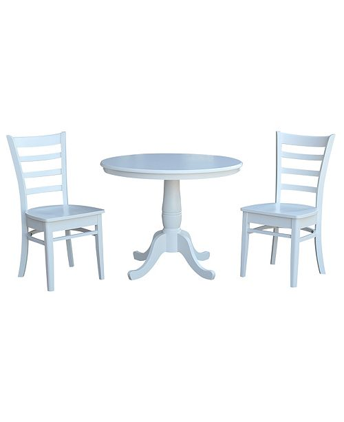 "WHITEWOOD INDUSTRIES/INTNL CONCEPTS International Concepts 36"" Round Top Pedestal Table - With 2 C08-617 Chairs"