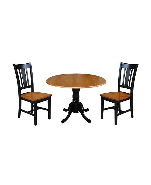 """WHITEWOOD INDUSTRIES/INTNL CONCEPTS International Concepts 42"""" Dual Drop Leaf Table With 2 San Remo Chairs"""