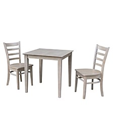 30X30 Dining Table With 2 Emily Chairs