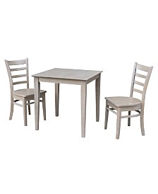 International Concepts 30X30 Dining Table With 2 Emily Chairs
