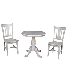 """30"""" Round Top Pedestal Table- With 2 San Remo Chairs"""