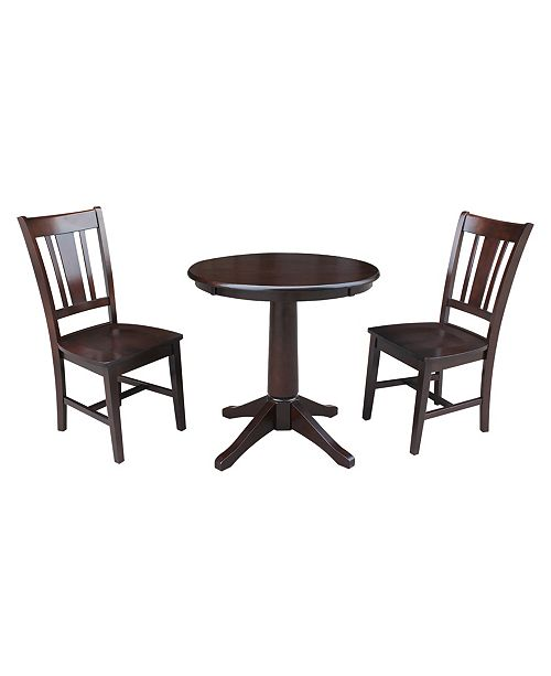 """WHITEWOOD INDUSTRIES/INTNL CONCEPTS International Concepts 30"""" Round Top Pedestal Table- With 2 San Remo Chairs"""