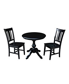 """30"""" Round Top Pedestal Table- With 2 Madrid Chairs"""