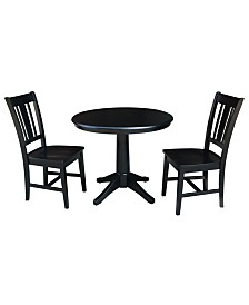 """International Concepts 36"""" Round Top Pedestal Table - With 2 San Remo Chairs"""