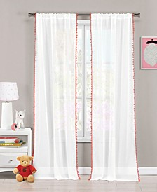 "Aveline 38"" x 84"" Pompom Trim Curtain Set"