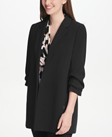 DKNY Petite Ruched-Sleeve Open-Front Jacket