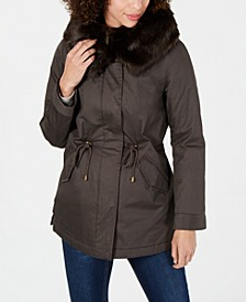 Anorak Coat with Faux-Fur Trim Hood