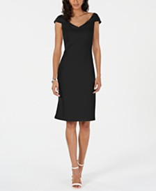 Vince Camuto Petite Portrait-Collar Sheath Dress
