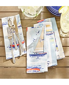 "Sail Away Stain Resistant Indoor Outdoor 17"" X 17"" Napkin - Set of 8"