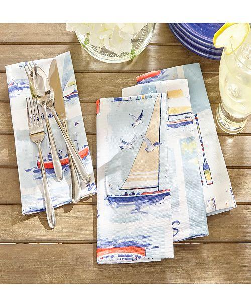"""Elrene Sail Away Stain Resistant Indoor Outdoor 17"""" X 17"""" Napkin - Set of 8"""