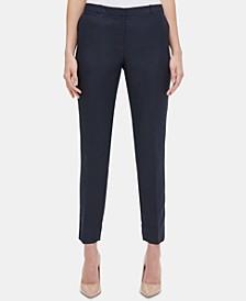 Linen Slim-Leg Ankle Pants