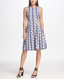 DKNY Sleeveless Checkered Cotton Fit & Flare Dress