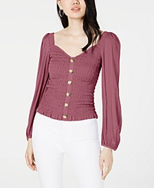 Juniors' Smocked Button-Front Top