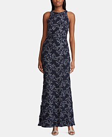 Lauren Ralph Lauren Embroidered Tulle Gown