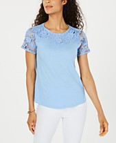 7dbbcd01ae Charter Club Cotton Lace-Embellished T-Shirt, Created for Macy's