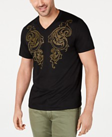 I.N.C. Men's V-Neck Rhinestone Scroll T-Shirt, Created for Macy's