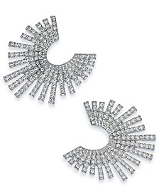 I.N.C. Silver-Tone Crystal Bypass Earrings, Created for Macy's