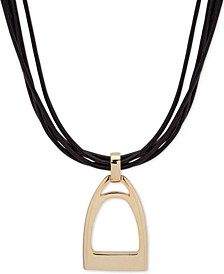"Gold-Tone Leather Stirrup Pendant Necklace, 16"" + 3"" extender"