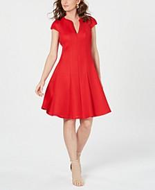 Cap-Sleeve Mesh Fit & Flare Dress