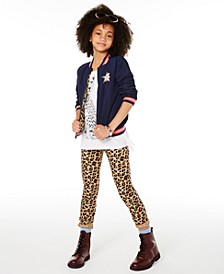 Big Girls Reversible Bomber Jacket, Cheetah-Print T-Shirt & Leopard-Print Skinny Jeans, Created for Macy's