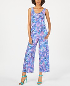 Pappagallo Palm-Print Blouson Jumpsuit