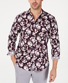 I.N.C. Men's Autumn Leaves Shirt, Created for Macy's